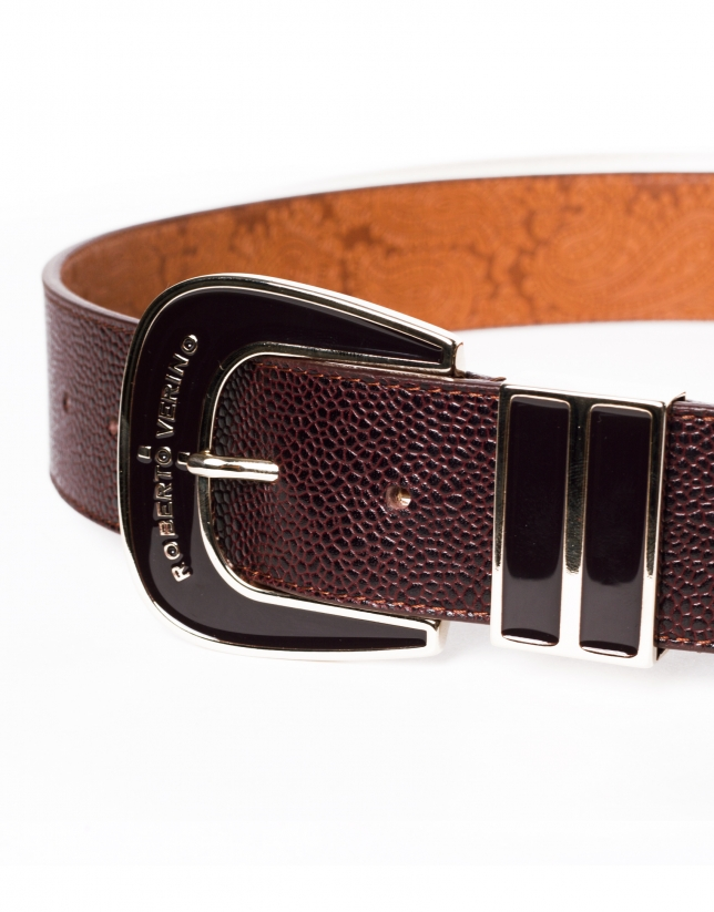 Brown leather belt with enamel buckle