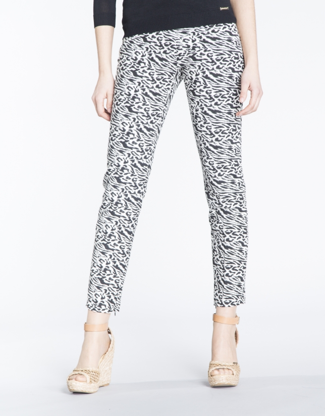 Animal print stretch pants