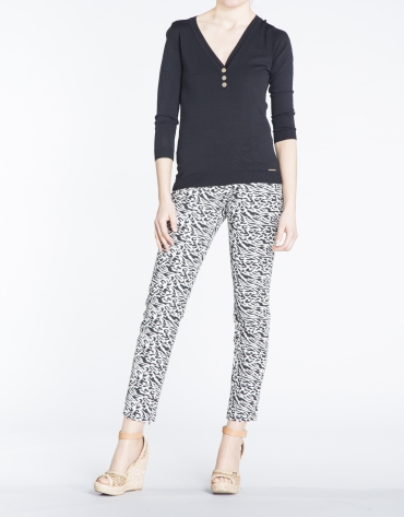 Pantalon stretch, imprimé animal