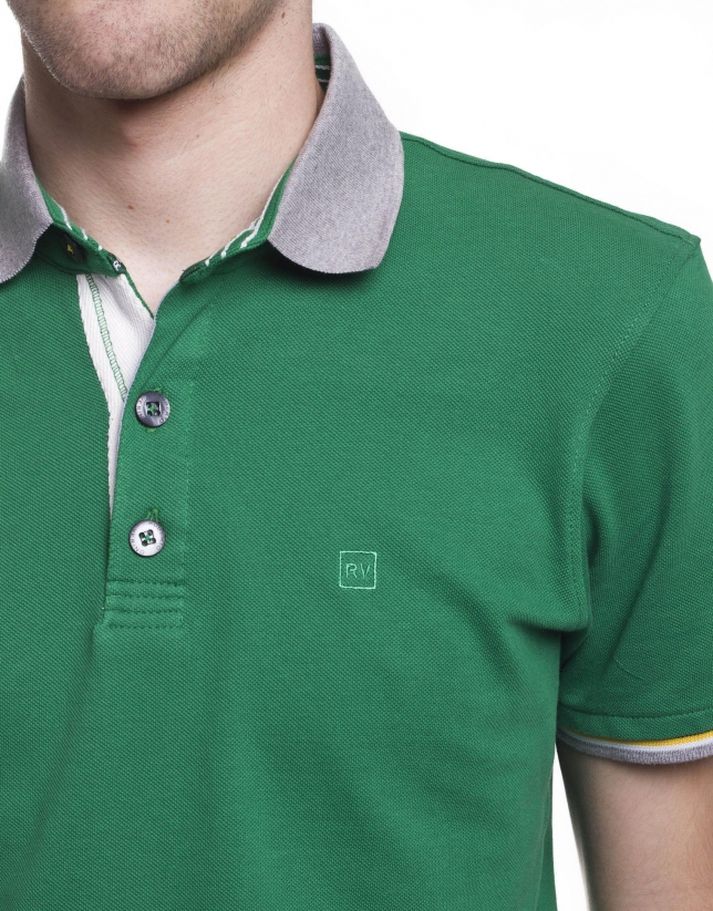 Ribbed necked polo shirt