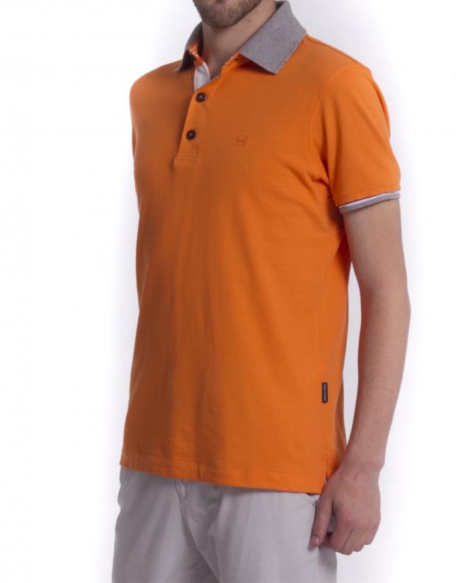 Ribbed necked polo shirt