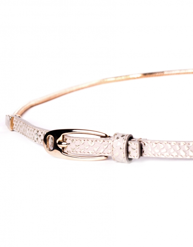 Leather belt with light gold chain