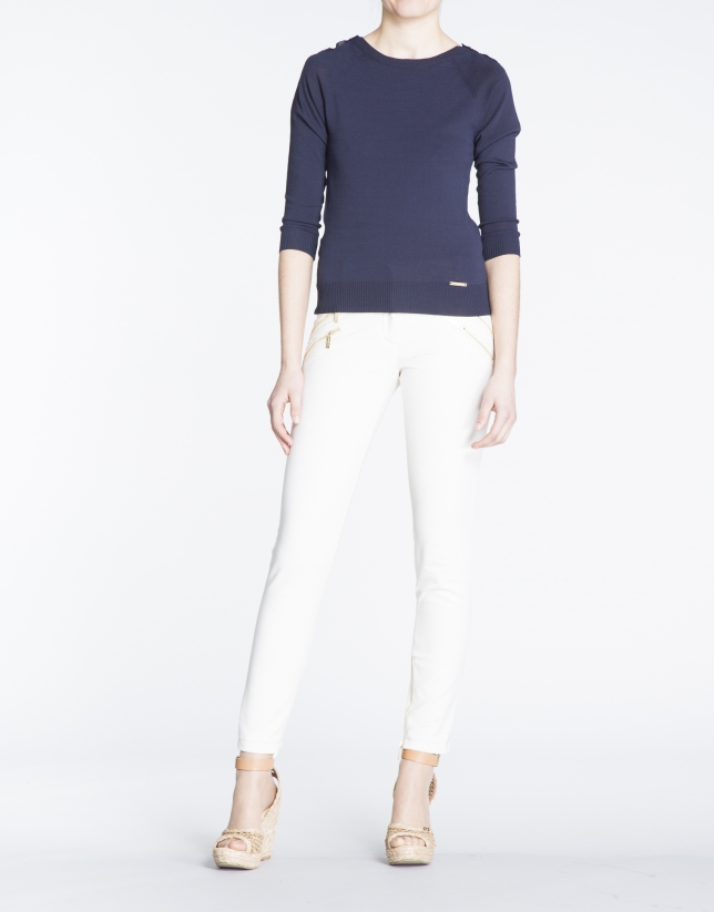 Ivory stretch zippered pants