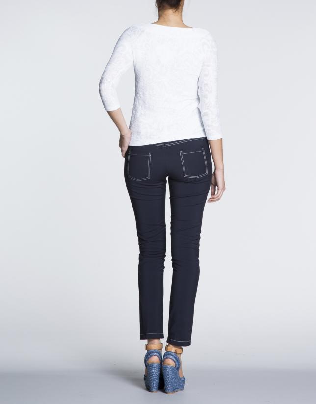Pantalon stretch bleu marine avec Fermetures à glissière.