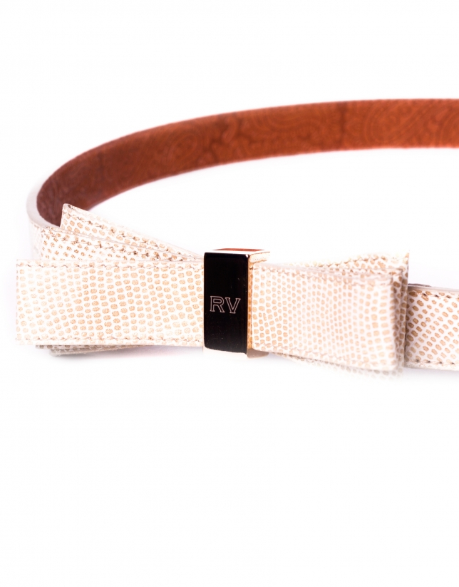 Beige leather belt with bow
