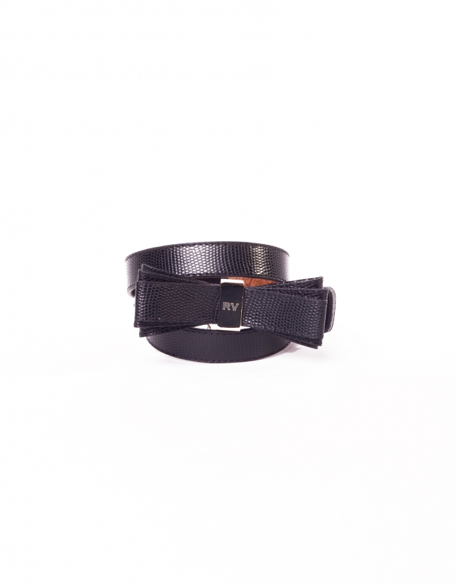 Black leather belt with bow