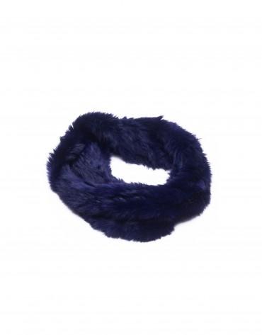Dark blue rabbit fur collar