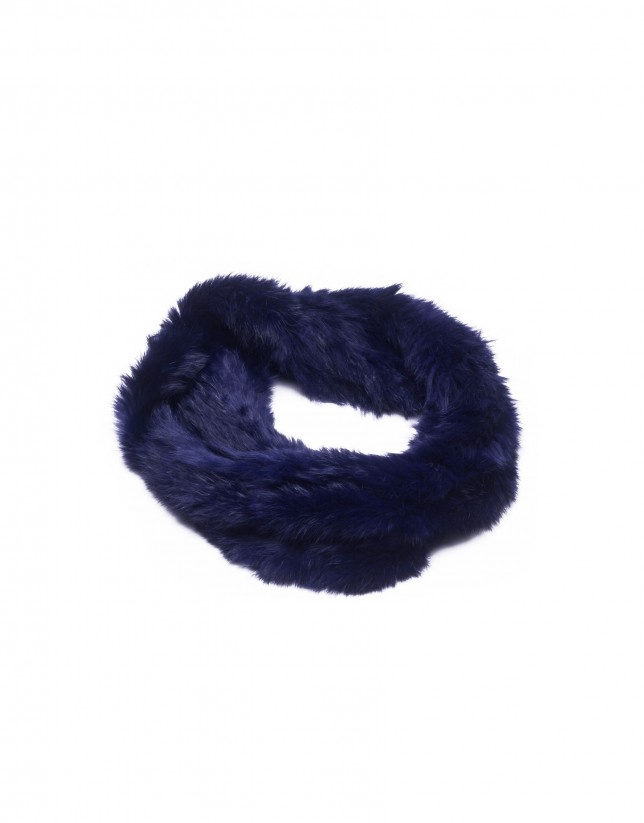 Dark blue rabbit fur collar