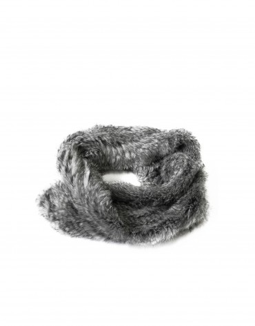 Grey rabbit fur collar