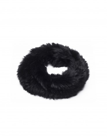 Jet black rabbit fur collar