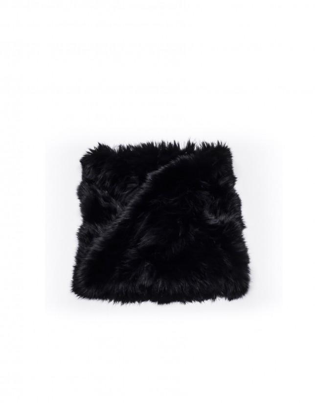 Jet black rabbit fur collar