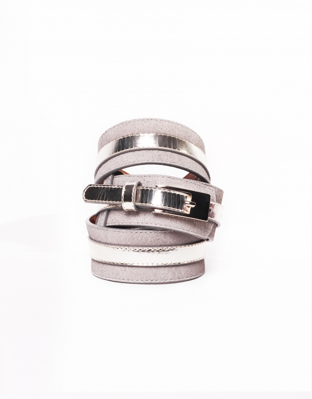 Light gold leather metallic belt