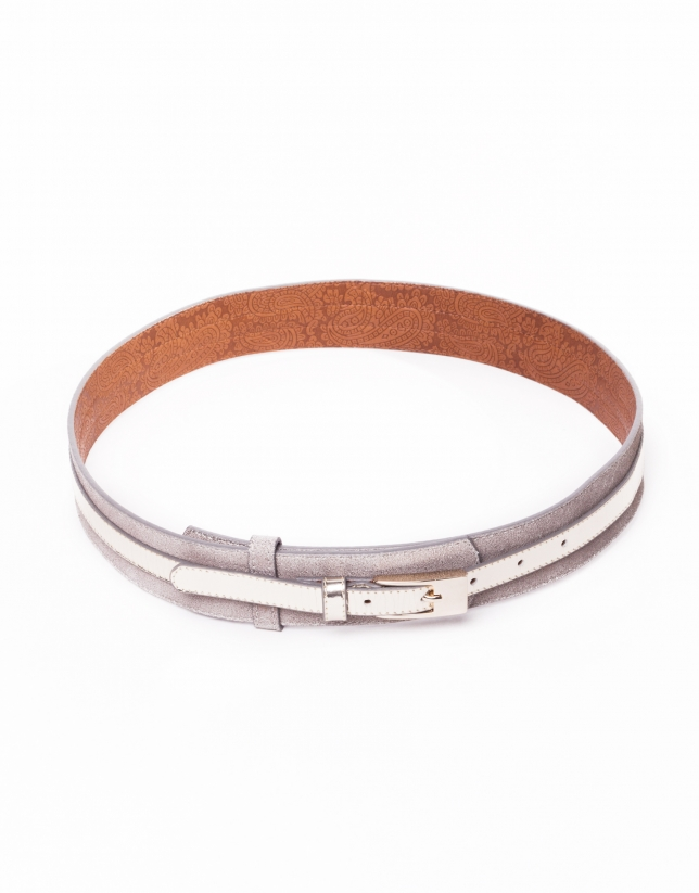 Light gold leather metallic belt