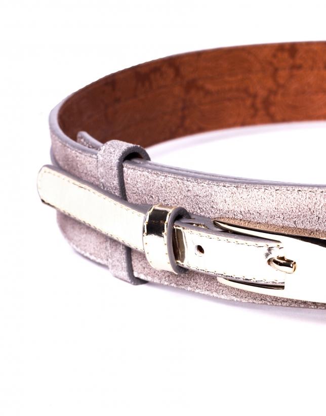 Cinturón en piel oro claro metalizado