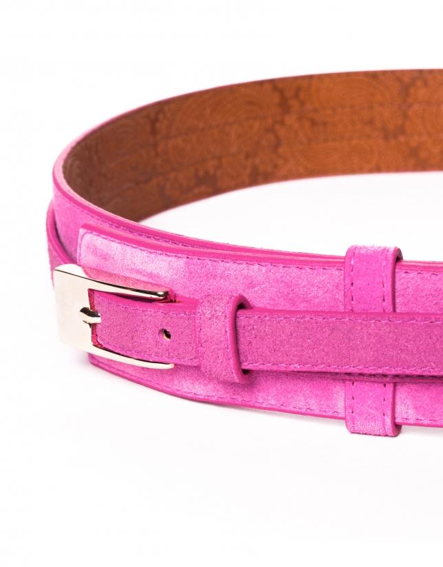 Cinturón en piel rosa metalizado