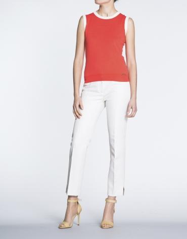Ivory herringbone straight jacquard pants