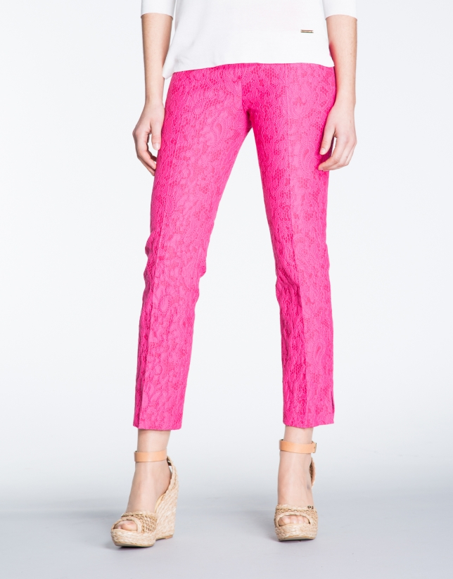 Fuchsia brocade straight pants