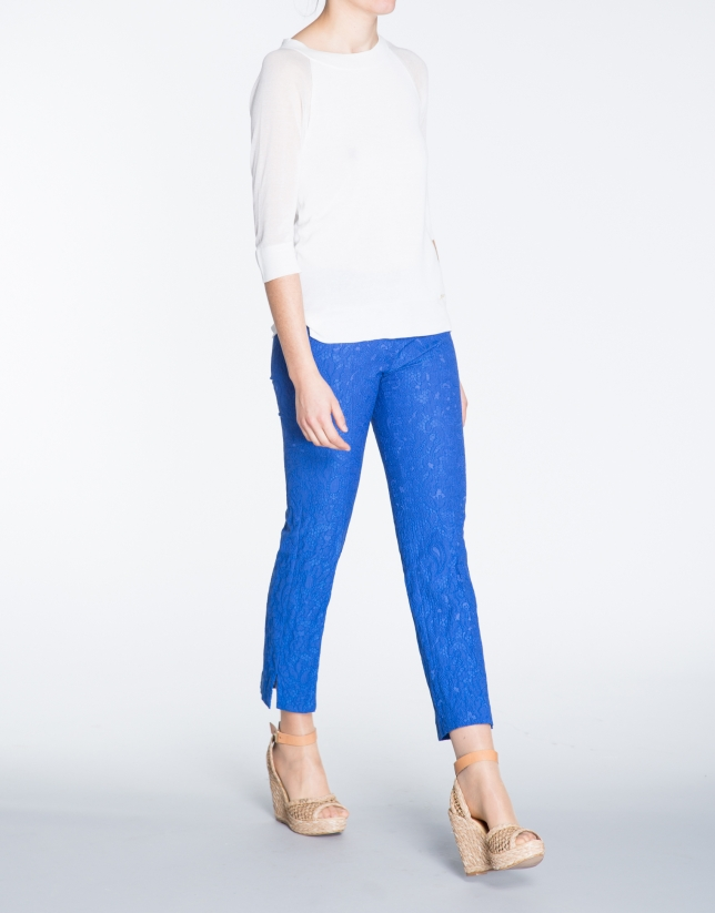 Blue brocade straight pants