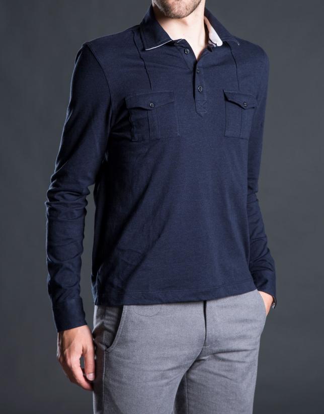Polo poches poitrine bleu