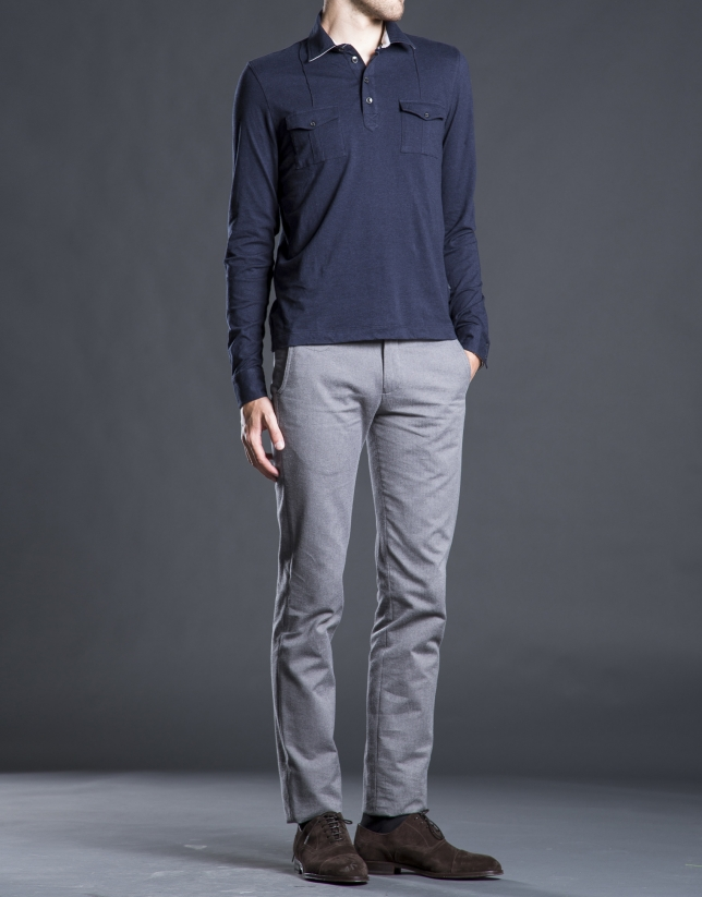 Blue polo shirt with breast pockets
