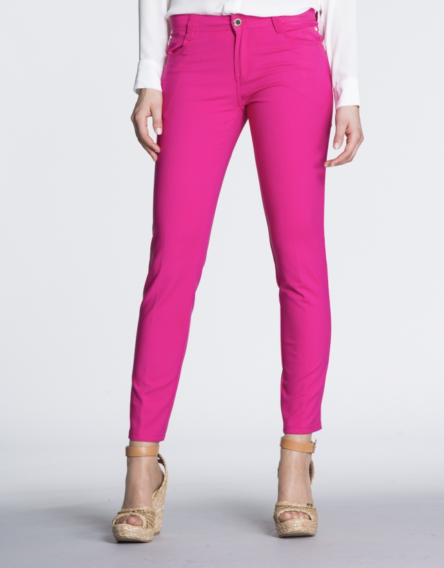 Fuchsia stretch pants with 6 pockets