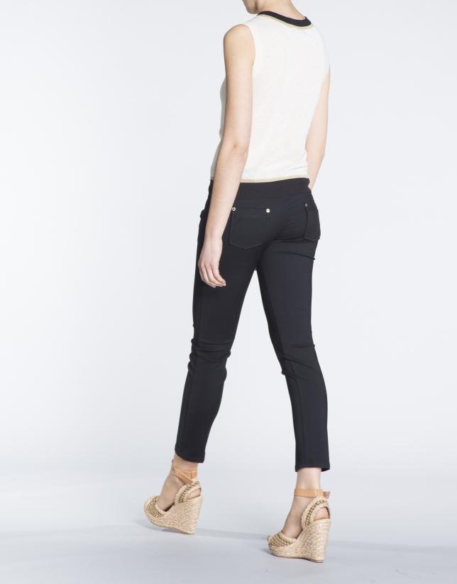 Pantalon stretch noir, 6 poches.