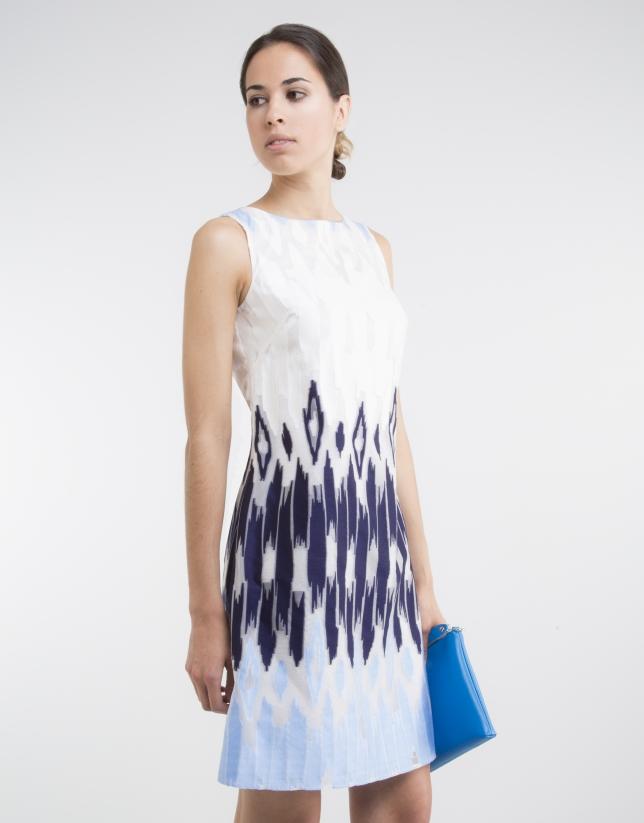 Robe bleue, imprimé géométrique
