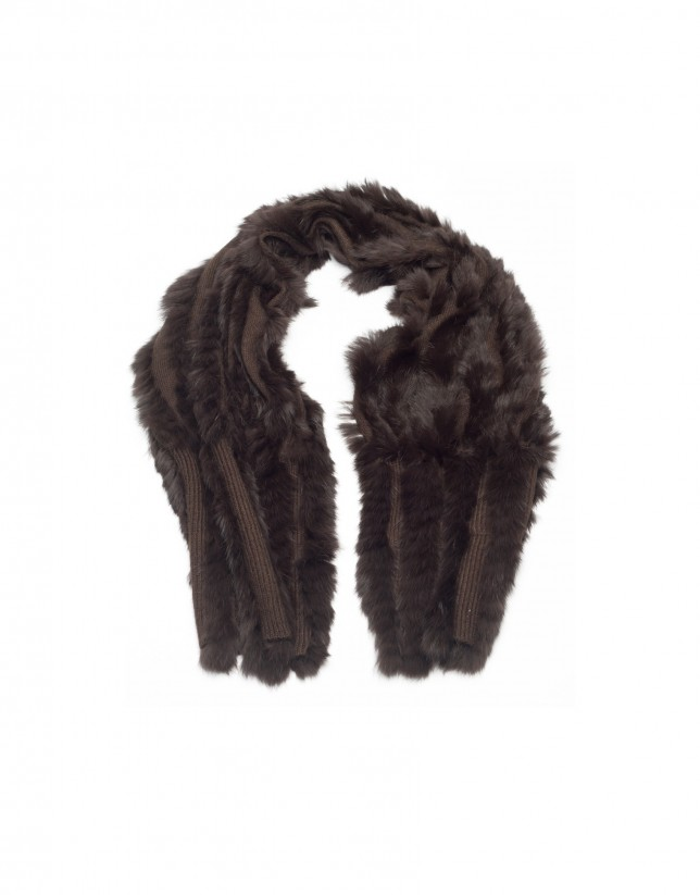Taupe rabbit fur scarf