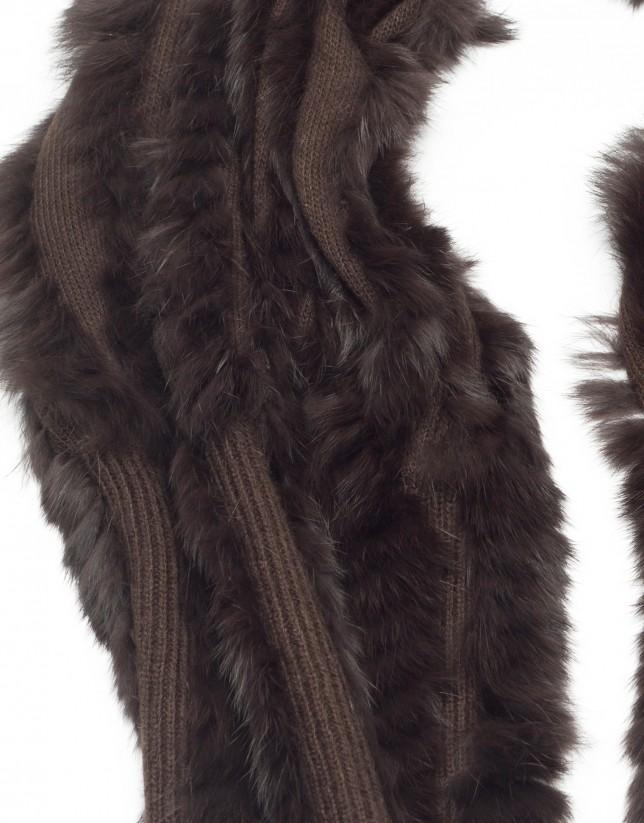 Bufanda pelo conejo marrón
