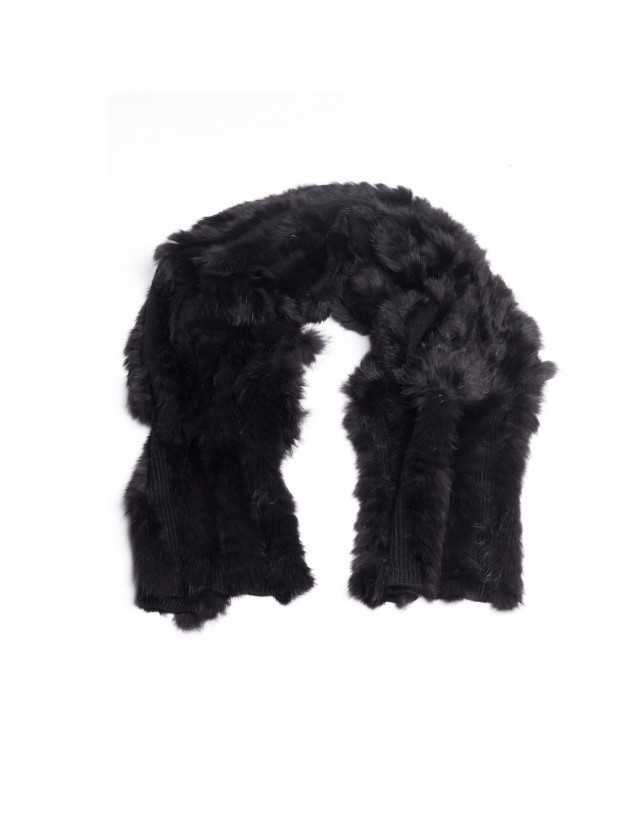 Black rabbit fur scarf