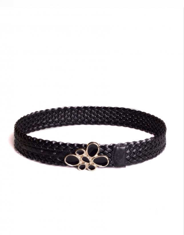 Cinturón negro trenzado