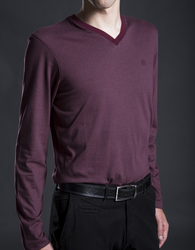Tee-shirt à rayures grenat