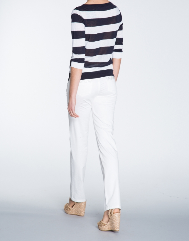 Ivory cotton straight pants with 5 pockets