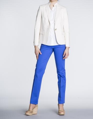 Pantalon droit bleu Klein en coton, 5 poches.