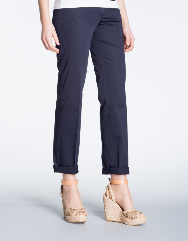 Navy blue straight cotton pants with 5 pockets