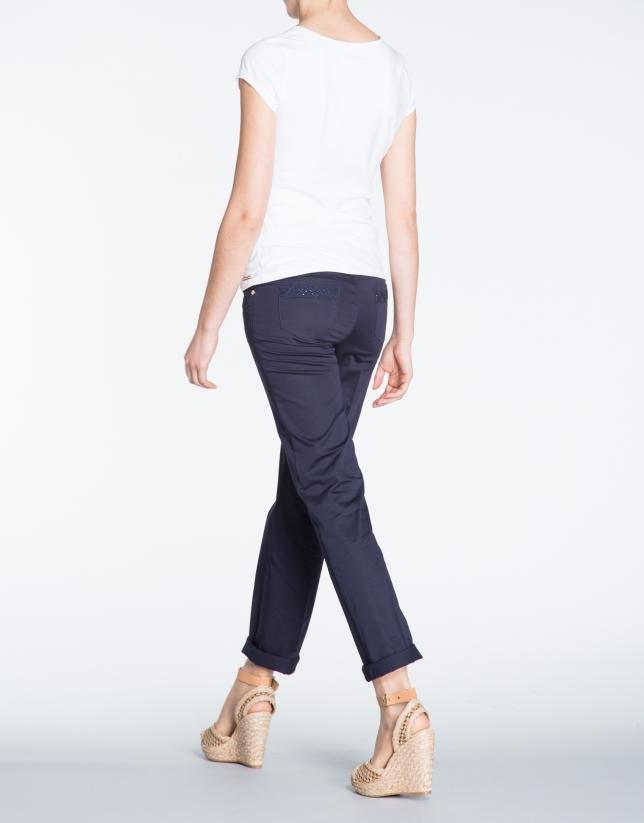 Pantalon droit bleu marine en coton, 5 poches.