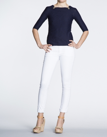 White cotton stretch pants