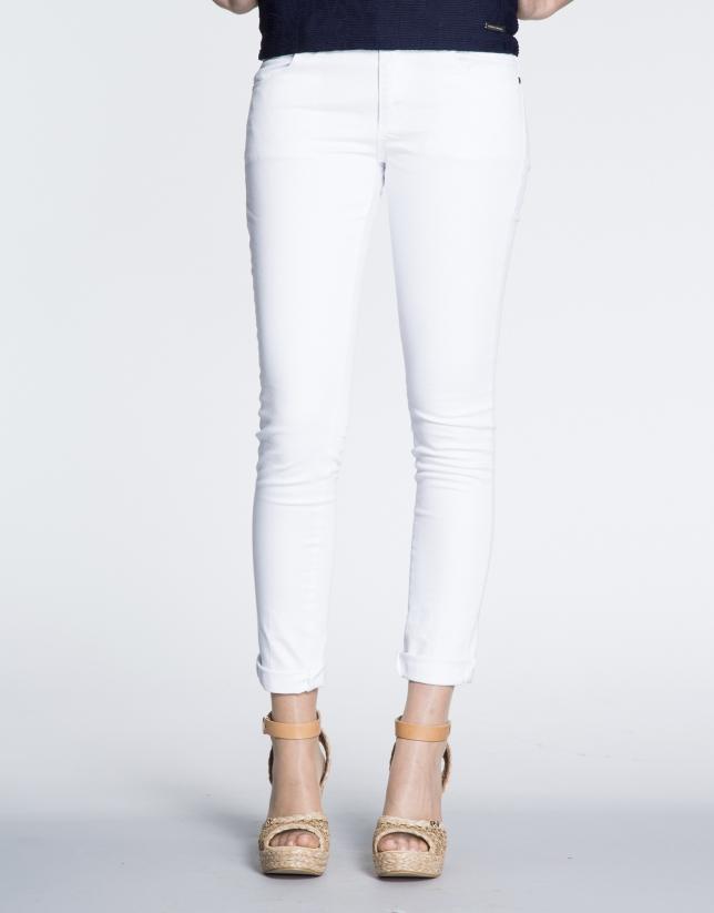 White cotton stretch pants