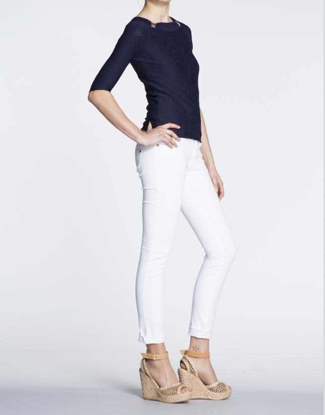 Pantalon strech blanc en coton