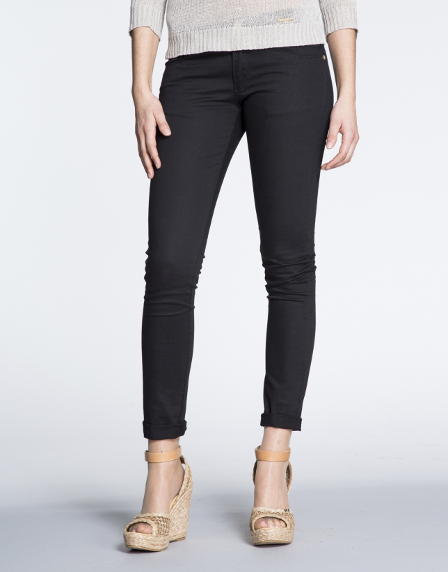Black cotton stretch pants