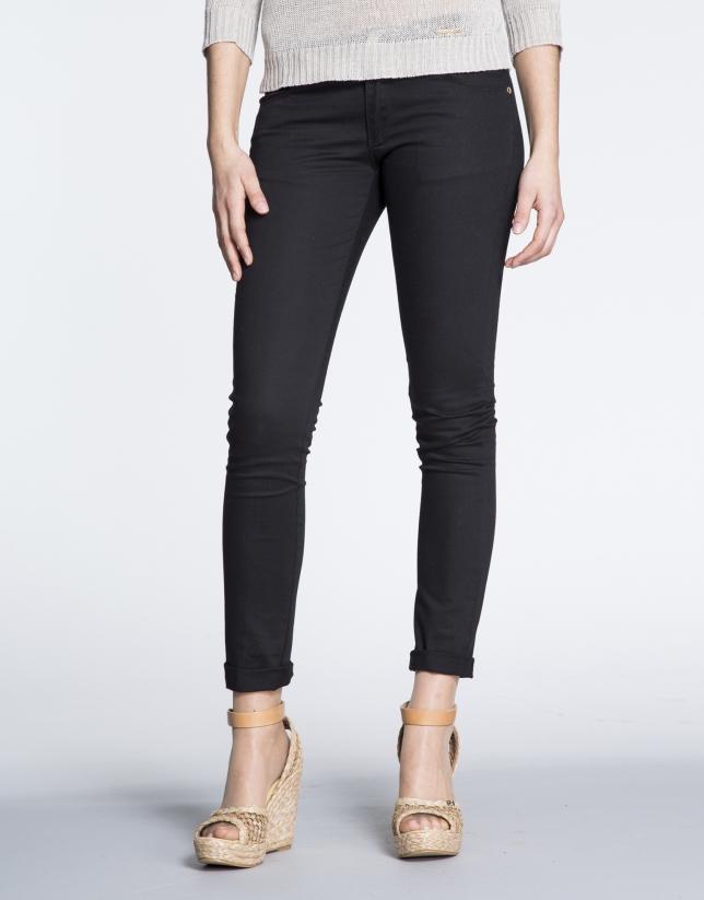Black cotton stretch pants