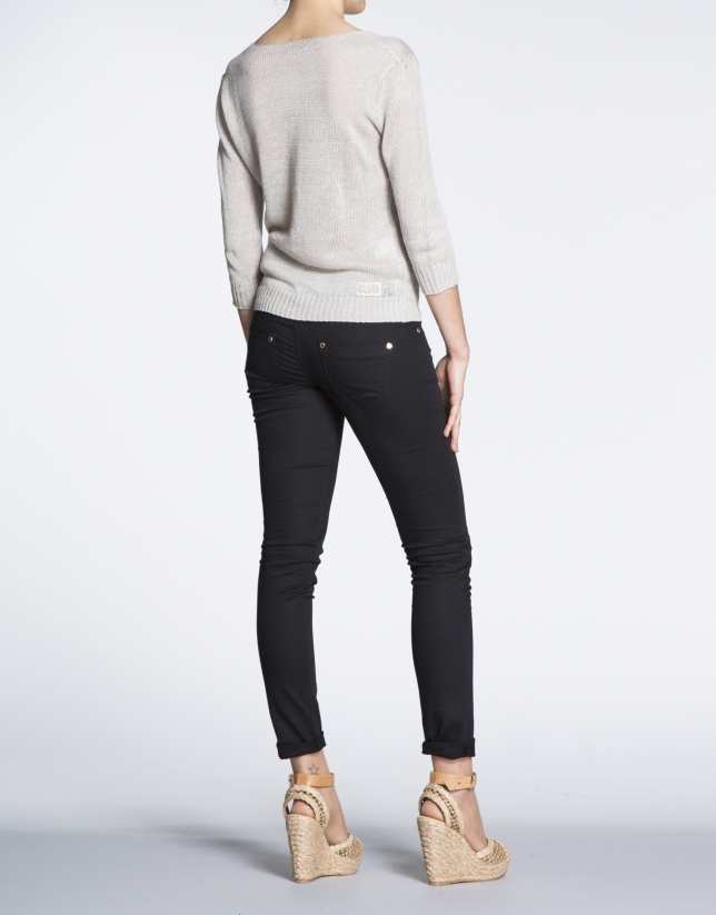 Pantalon stretch noir en coton.