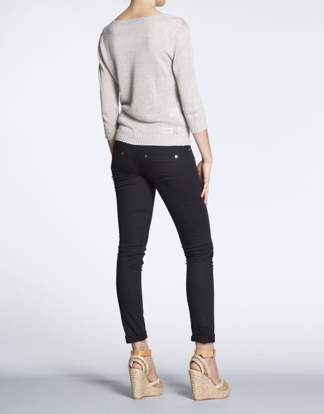 Pantalon stretch noir en coton.