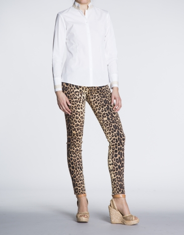 Pantalon stretch extensible, imprimé animal.