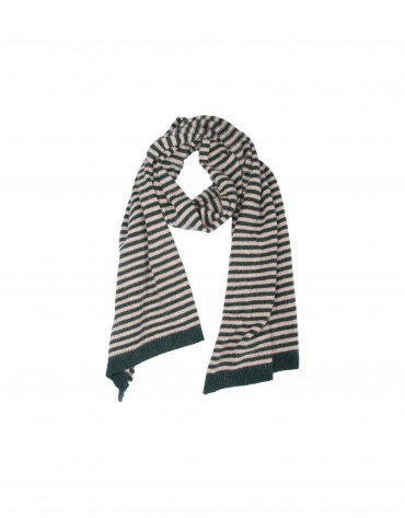 Brown striped knit scarf.
