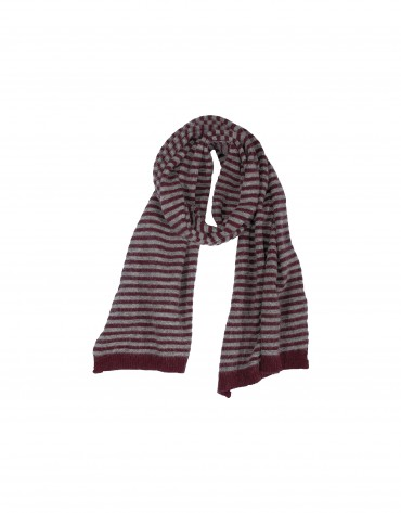 Bordeaux and grey striped scarf