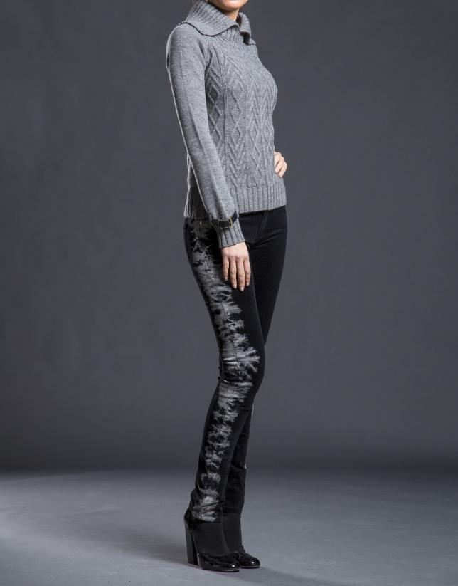 Jeans negro graffiti lateral