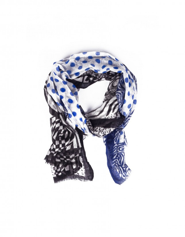 Two scarfs in one: blue beige and black