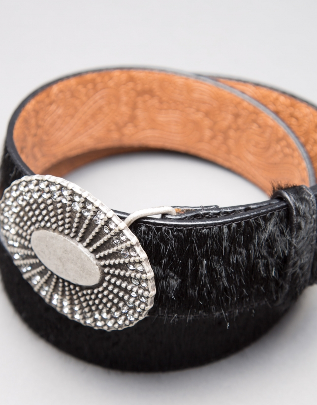 Black leather and fur belt
