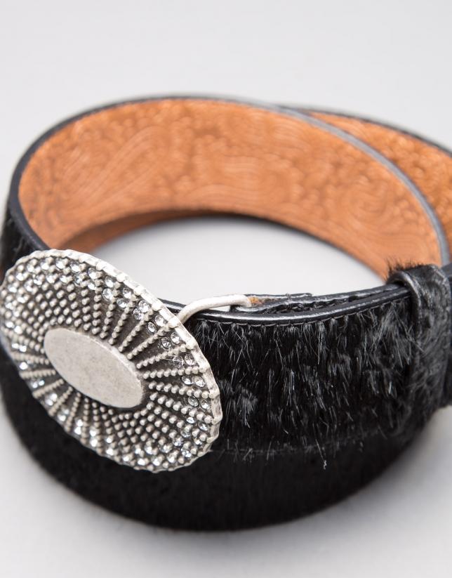 Black leather and fur belt